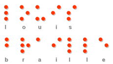 Picture of the name Louis Braille in Braille